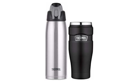Thermos Vacuum Insulated Hydration Bottle w/ Travel Tumbler 8c546ab6-efd7-4637-9f1c-f5e72e8c87e4