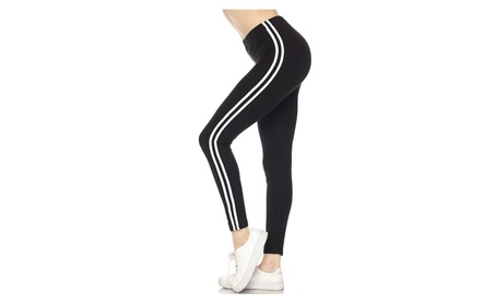 Solid Black & white Stripes Leggings Sports Yoga Active OS Leggings 24e94ee4-4acf-44c8-b70e-892d2b42b58d