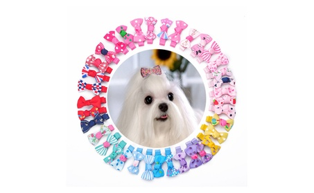 Dog Hair Clips Hair Bows 36 PCS Plus 2 PCS Diamond Clips Random Colors