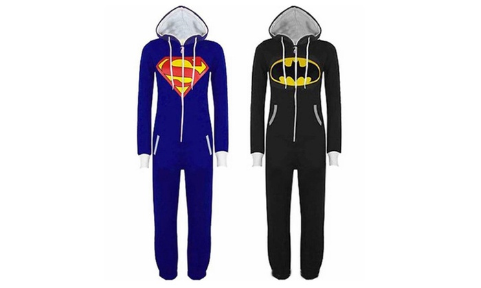 Unisex-adult Superman Batman Onesie Pajamas