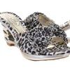 Leopard Jeweled Cut-out Strappy Slide Open-toe Sandal Heels DW1133