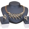 Crystal African Beads Gold Color Necklace Bracelet Earrings Rings Sets