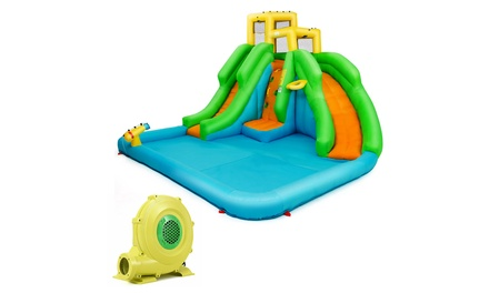 Costway Inflatable Water Park Bounce House Two-Slide Bouncer w/Climbing Wall