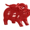 Ceramic Standing Winged Pig Figurine Gloss Finish Red
