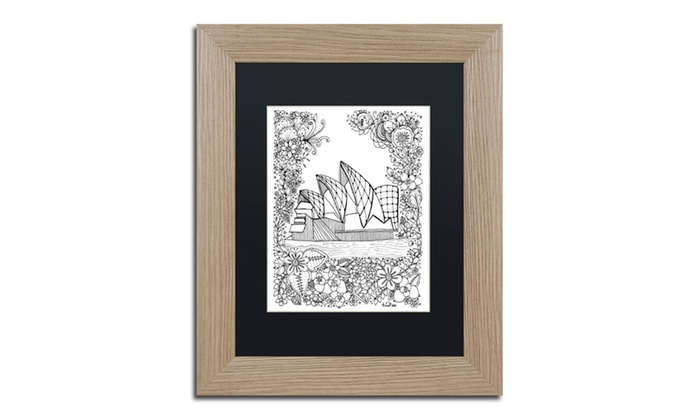 Groupon Goods: KCDoodleArt 'Sydney Opera House Inspired' Matted Birch Framed Art