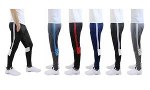 Men's Striped Moisture Wicking Jogger Track Pants