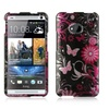 Insten Butterfly Hard Rubber Coated Case For HTC One M7 Black/Pink
