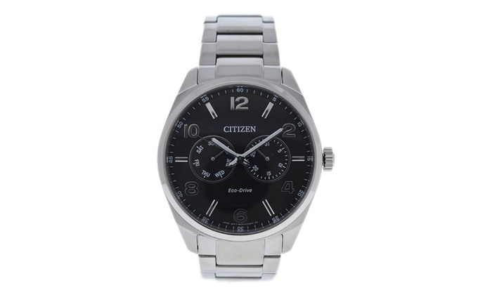 citizen ao9020 84e eco drive black dial stainless steel watch 1 pc