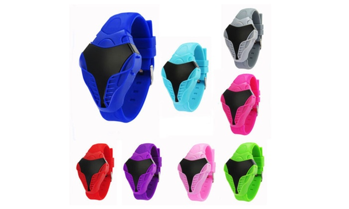 New Mens Women LED Digital Cobra Triangle Dial Silicone Sports Watch