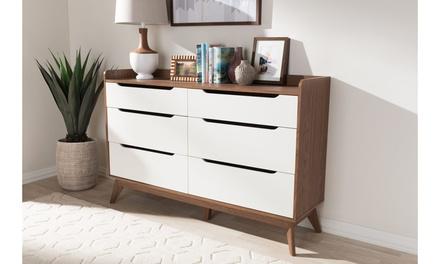 Brighton White and Walnut Wood Storage Chest or Dresser