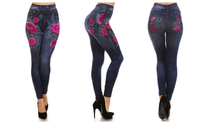 Super Soft and Thick Floral Jean Leggings – One Size Fits Most