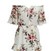 SHINA Women's off-shoulder V-neck Floral Print Short Romper Jumpsuit