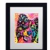 Dean Russo 'Border Collie 121109' Matted Black Framed Art