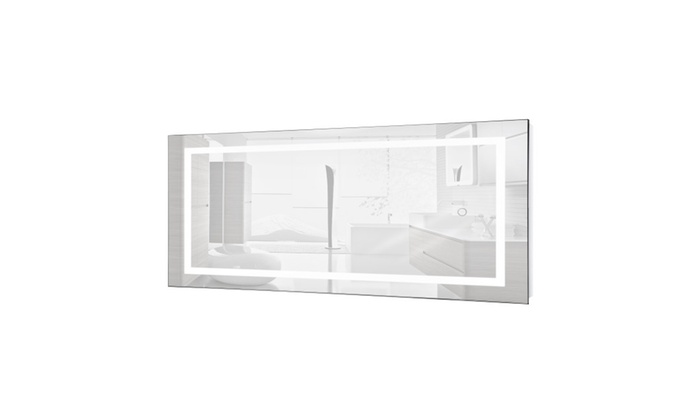 "Bathroom Mirrors 60 X 30 large 60"" x 30"" led bathroom mirror lighted with built in defogger"