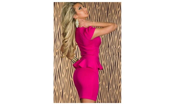 Women's U-neck OL Peplum Dress Pink