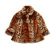 Girls Brown Leopard Faux Fur Coat