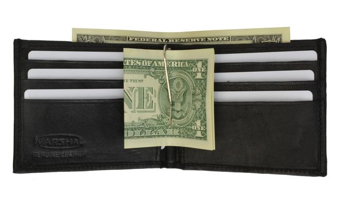 Genuine Leather Bifold Mens Credit Card Holder Wallet w/Money Clip