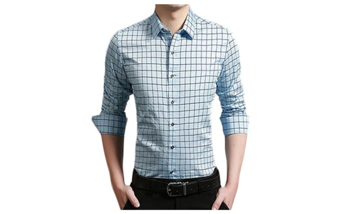 Men's Checkers Plaid Long Sleeve Casual Button Down Shirt
