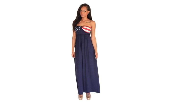 Navy American Flag Maxi Dress Groupon