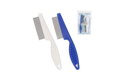 Blue or White Pet Dog Hair Flea Stainless Pin Cat Grooming Comb 2e161727-47bd-4699-ba81-eb0e8f689aec