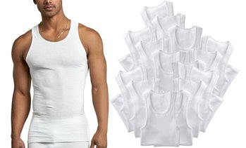 (12 Pack) Men's Sleeveless Scoop Neck A-Shirts