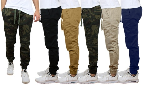 2-Pack Men's Twill Cotton Stretch Moto Jogger (Sizes, S to 2XL)