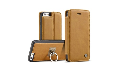 Leather Wallet Stand Phone Case Cover with Card Slot Magnetic Ring photo