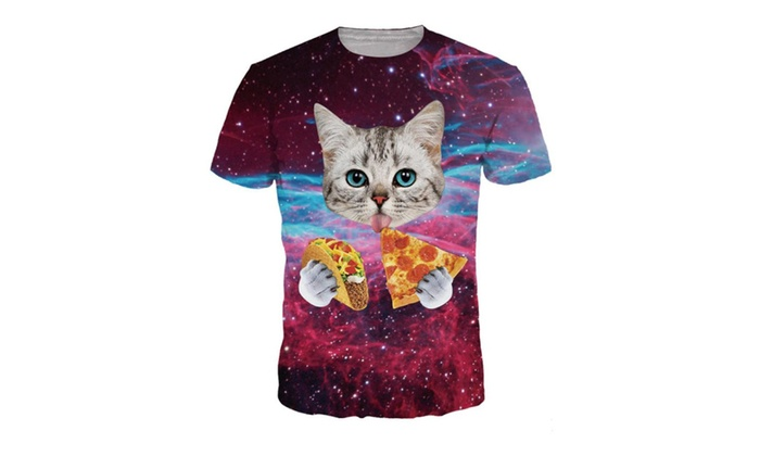 4PING Men's Pizza Star Cats Digital Printing T-shirt Sports Short Tees