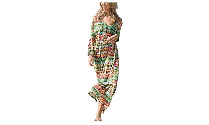 Women's Sexy Beach V Neck Long Sleevve Chiffon Cover Up Dresses