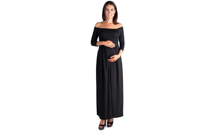 b44d0ec7b3d 24seven Comfort Apparel Off Shoulder Maternity Maxi Dress