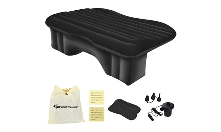 Inflatable Car Air Backseat Mattress Flocking Travel SUV Camping Pad Pill & Pump