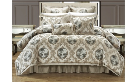 9 or 13 Piece Amigoni High Quality Jacquard Fabric Master Bedroom Comforter Set