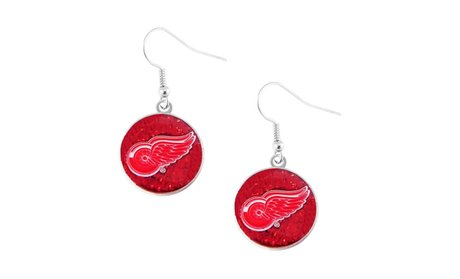 Detroit Red Wings Glitter Dangle Earring