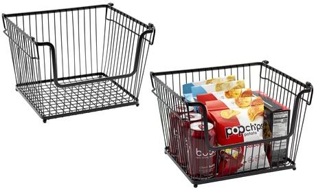 2-Pk Farmhouse Wire Metal Basket Bin - Stackable Storage for Home Kitchen Pantry