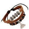 Vintage Beaded Buddha Pendant Leather Bracelet