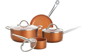 Culinary Edge Nonstick Ceramic-Infused Copper Cookware Set (7-Piece)