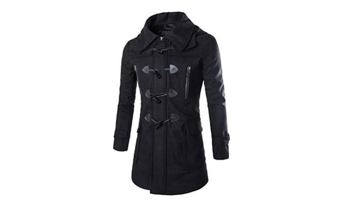 43d0f265a7a Men s Woolen Blend Breasted Horn Button Removable Hood Duffle Coat ...