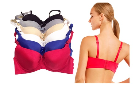 Push-Up Full Coverage Bras with Bow Accents (6-Pieces) 0243e274-fb8f-4bc7-8bbb-c1b55420e1aa