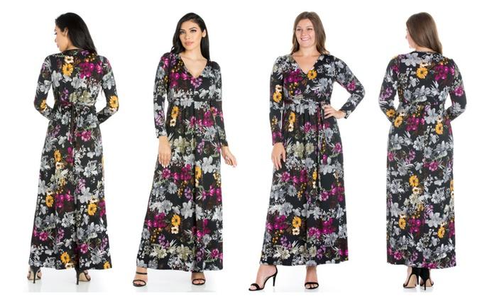 e36d063d5a3 24seven Comfort Apparel Regal Blooms Floral Long Sleeve Maxi Dress ...