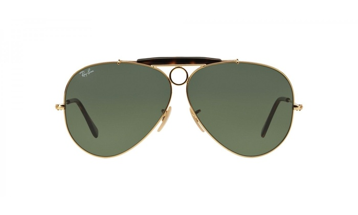 5287bd74121 Ray Ban Shooter RB3138 181 62 Gold Frame   Green Classic G-15 Lenses