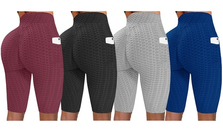 Haute Edition Women's Booty Lift Solid Color Biker Short with Pockets Was: $24.15 Now: $7.99.