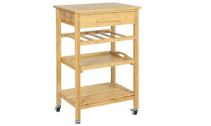 Rolling Wood Kitchen Storage Cart Rack With Drawer u0026 Shelves ...  sc 1 st  Groupon & Rolling Wood Kitchen Storage Cart Rack With Drawer u0026 Shelves | Groupon