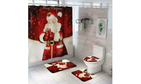 Merry Christmas Bathroom Set Xmas Santa Shower Curtain Toilet Cover Mat