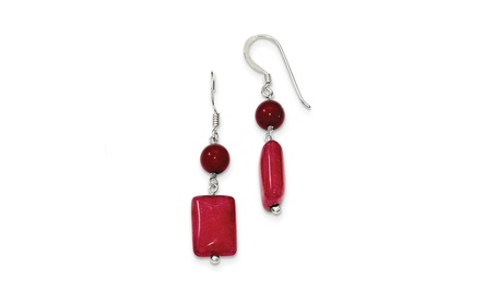 Sterling Silver Red Coral/Red Agate Earrings (1.7In x 0.3In ) 85c0fe1d-64b0-471e-82b4-e2390ee8ec97