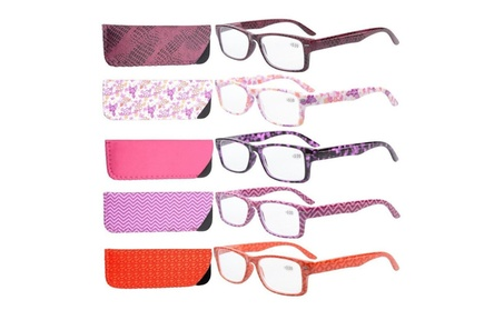 Eyekepper 5-pack patterned rectangular reading glasses R066-5PC-Mix 32ffad8d-39f5-4383-8004-38f173d0732e