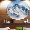 Snowy Mountains Panoramic View' Landscape Metal Circle Wall Art