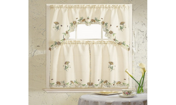 Cosmos 3 Piece Kitchen Curtain Set