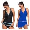 Womens Swimming Suits two Piece Halter Tankini Skort Swimsuit