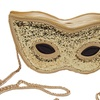 Bling Sequined Funny Mask Clutch Chain Cross body Bag for Women