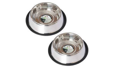 2 Pack Stainless Steel Non-Skid Pet Bowl for Dog or Cat - 64 oz - 8 cup 41bcca8d-3eb4-431e-a231-98538d69d383